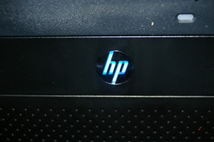 HP MicroServer's HP Logo glows a chilling blue